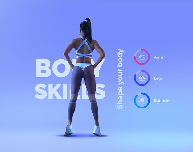 Young beautiful sexy girl athlete in a bikini on a blue background sports infographics fitness workout active lifestyle sports beautiful sexy body vector realistic illustration
