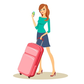 Young beautiful traveler or tourist with travel trolley case on wheels holding up a handful of money and tickets
