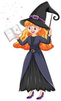 Young beautiful witch holding wand and book cartoon style isolated on white