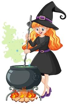 Молодая красивая ведьма в черном мультяшном стиле на белом фоне