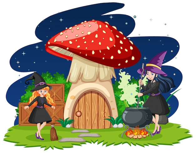 Young beautiful witches with mushroom house cartoon style isolated on white background