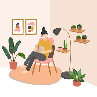 本を手に持った椅子に座っている若い美しい女性。家で本を読んでかわいい女の子。モダンなフラットスタイル
