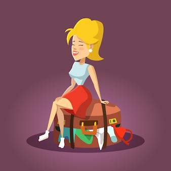 溢れたスーツケースの上に座って若い美しい女性。漫画の観光客の女の子。