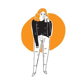 携帯電話の手描きの漫画イラストで写真を撮る若い美しい女性。トレンディな衣装の女の子がサルフィーのバナーデザインを作ります。スマートフォンの現代的なライフスタイルの背景