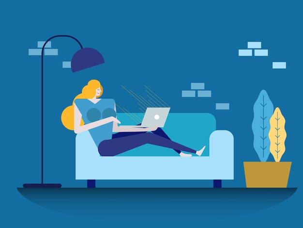 Young beautiful woman using a laptop computer at home. flat design elements