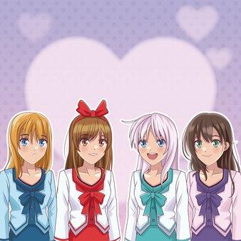Young and beautiful womens anime manga