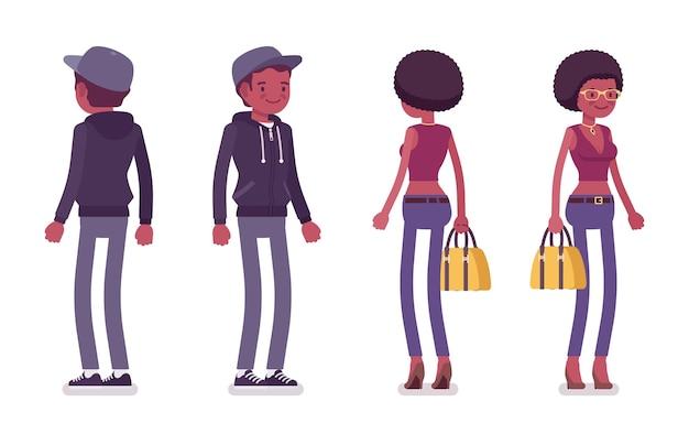 立っている若い黒人男性と女性