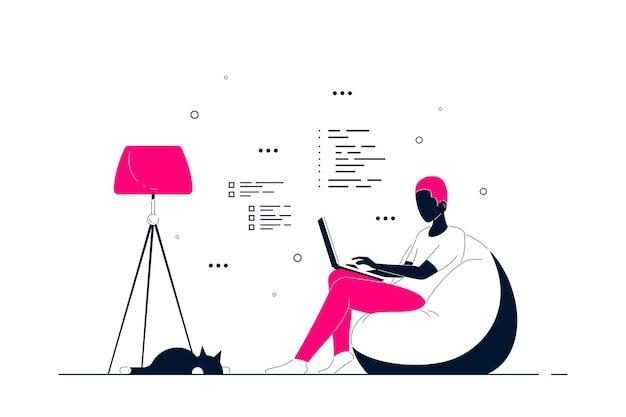 Молодой черный человек дома сидит в кресле-мешке и работает на компьютере. удаленная работа, домашний офис, концепция самоизоляции. плоский стиль линии искусства иллюстрации, изолированные на белом фоне.