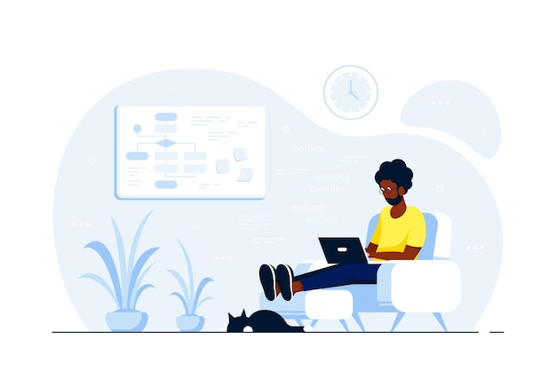 Young black man at home sitting in chair and working on computer. remote working, home office, self isolation concept. flat style illustration, isolated on white background.