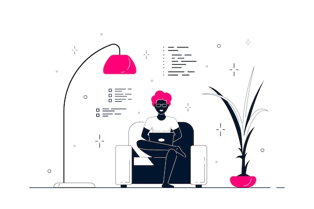 Young black man at home sitting in chair and working on computer. remote working, home office, self isolation concept. flat style line art illustration, isolated on white background.