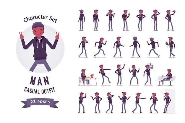 Набор символов иллюстрации молодого темнокожего человека
