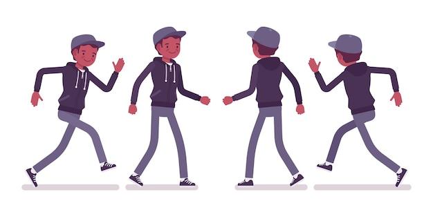 歩いて走っている若い黒人男性