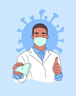 白い医療コートとフェイスマスクを身に着けている若い黒人男性は、親指でフェイスマスクを与えます。