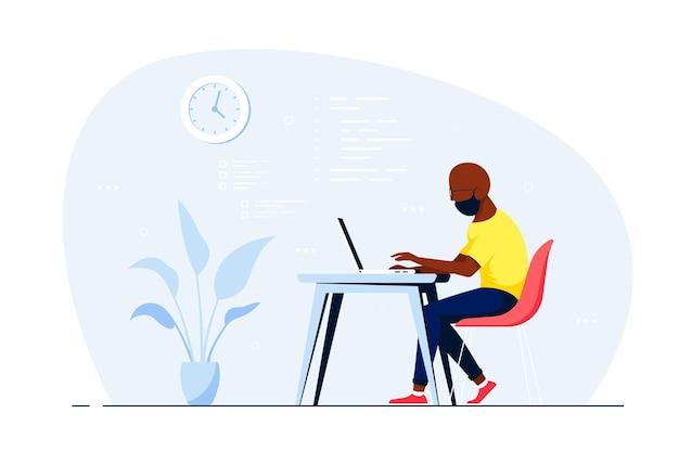 Молодой черный человек, работающий на ноутбуке за столом в офисе. плоский стиль иллюстрации