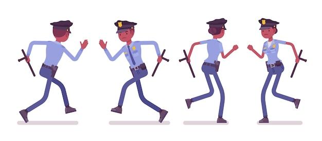 実行している若い黒人警察官