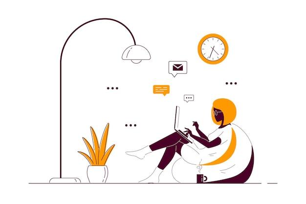Молодая темнокожая женщина дома сидит в кресле-мешке и работает на компьютере. удаленная работа, домашний офис, концепция самоизоляции. плоский стиль линии искусства иллюстрации.