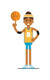ボールを持つ若い黒人女性のバスケットボール選手