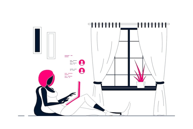 Young black woman at home sitting on the floor and working on computer. remote working, home office, self isolation concept. flat style line art illustration.