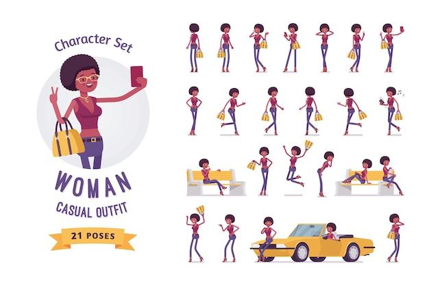 若い黒人女性イラストキャラクターセット