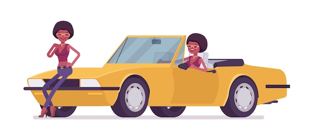 Young black woman near bright yellow cabriolet