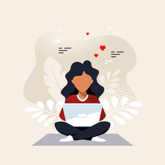 Young black woman sitting on the floor and working on laptop. freelance, remote working, online studying, work from home. flat style vector illustration.