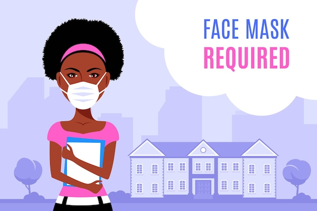 Молодая темнокожая женщина в маске для лица и стоя перед зданием университета или колледжа. плоский стиль иллюстрации