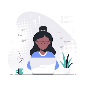 Young black woman working on laptop. freelance, remote working, online studying, work from home concept. flat style vector illustration.