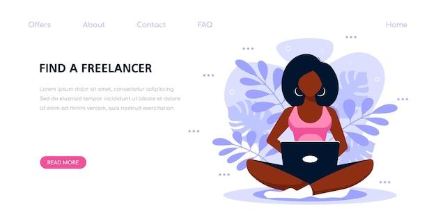 Молодая черная женщина, работающая с ноутбуком. плоская иллюстрация стиля на веселом персонаже использует мобильное устройство. шаблон баннера