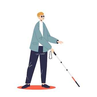 Young blind man in sunglasses move with walking stick. male with disability and eyesight disease