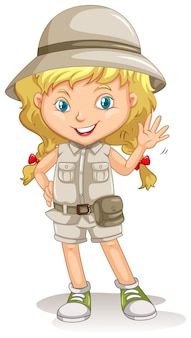 A young blonde girl scout