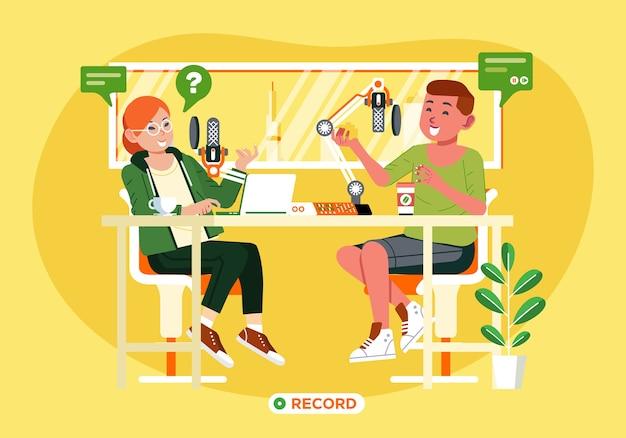 若い男の子と女の子のテーブルとそれらの後ろの図のマイクのスタジオでポッドキャストレコードをやっています。ランディングページ、ポスターなどに使用