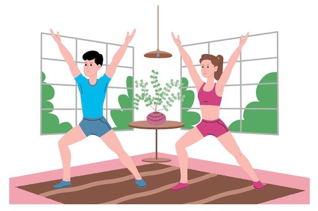 격리 기간 동안 집에서 스포츠 운동, 가정 운동, 피트니스를 하고 건강한 생활 방식을 이끄는 어린 소년과 소녀. 평면 벡터 일러스트 레이 션. 집을 체육관으로 사용하는 남녀.