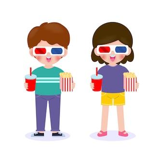 映画を見ている少年と少女、一緒に映画に行く幸せなカップル