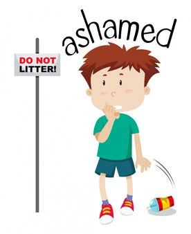 Young boy ashamed image