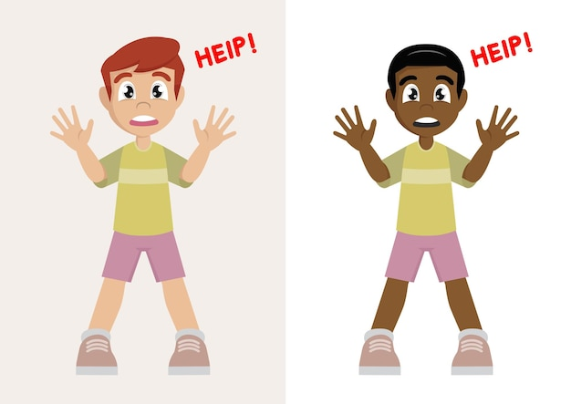 助けを求める少年悲鳴を上げる少年男