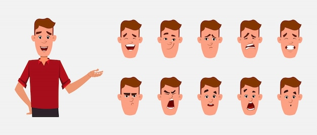 Young boy character with different facial expression set