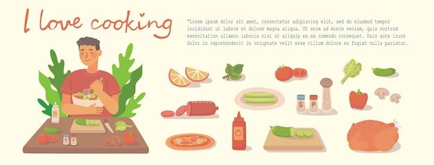 집에서 부엌에서 요리하는 어린 소년. 재료로 피자, 닭고기 및 샐러드 요리. 현대 평면 스타일에 현대적인 그림입니다.