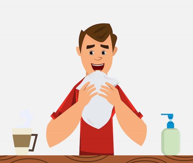 Young boy coughing. coronavirus symptom concept