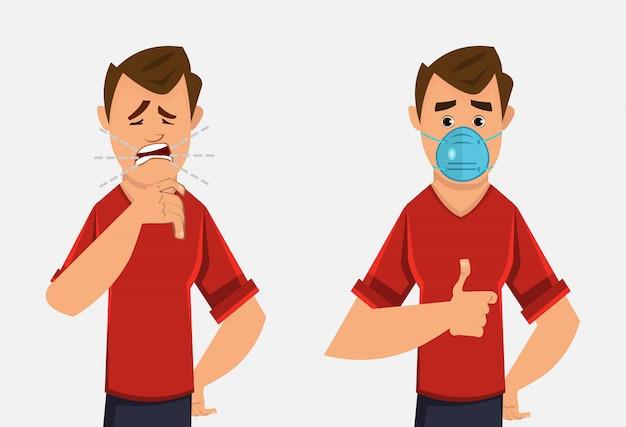 Young boy coughing and wearing protective face mask