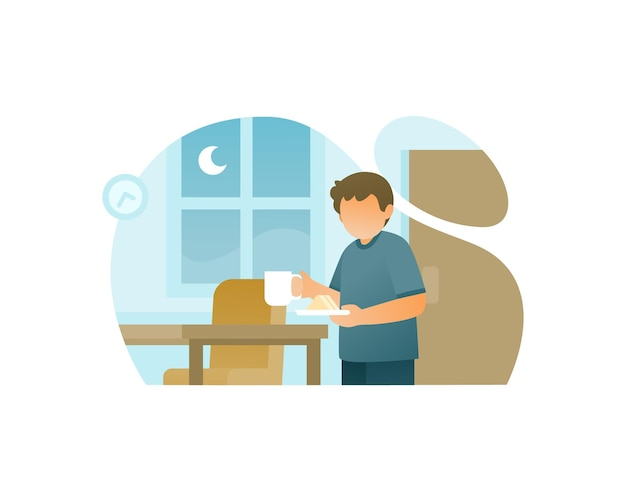 Young boy eat at night illustration