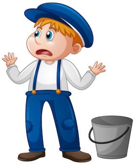 Un giovane ragazzo in uniforme da contadino