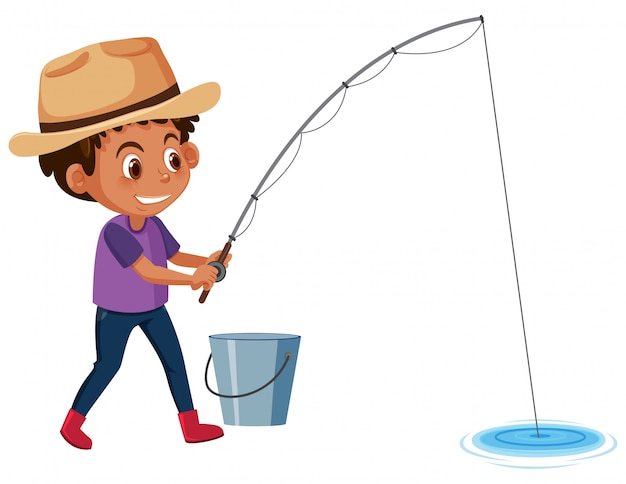 Young boy fishing white background