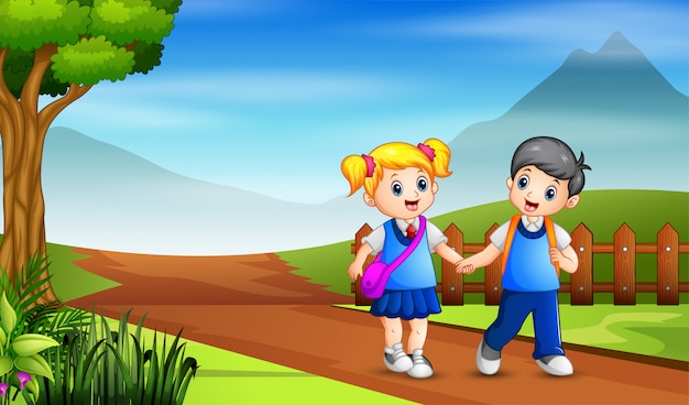 A young boy and girl  going to the school