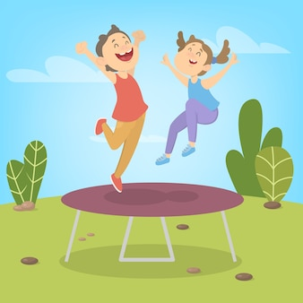 Young boy and girl jumping on trampoline. summer activity. happy kids have fun.  illustration