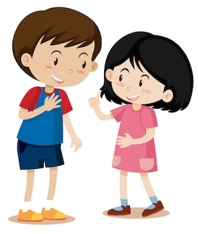 Young boy and girl talking