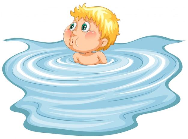 수영장에서 어린 소년
