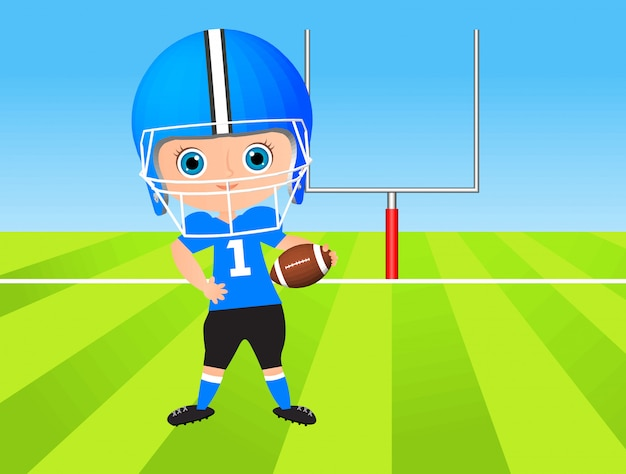 Young boy. kid playing american football.