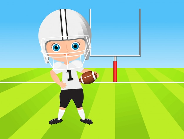 Young boy. kid playing american football