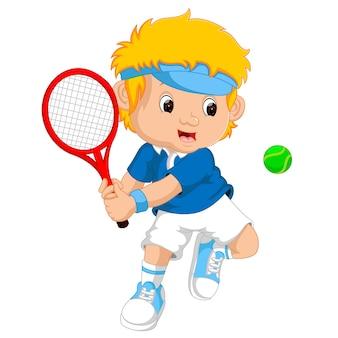 若い、男の子、遊び、テニス、ラケット