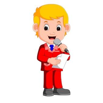 Young boy presenter